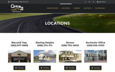 Screenshot of Locations Page c21aaanorth.com - Locations – Century 21 AAA North - captured Nov. 2, 2016
