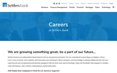 Screenshot of Jobs Page settlerswi.com - Careers - Settlers Bank - captured Oct. 20, 2018