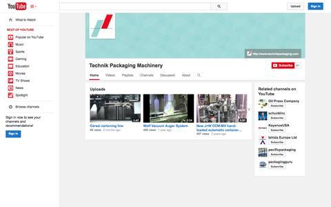 Screenshot of YouTube Page youtube.com - Technik Packaging Machinery  - YouTube - captured Oct. 26, 2014