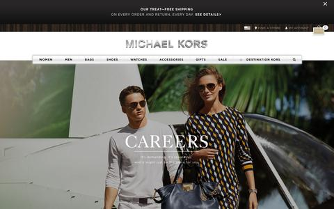 Screenshot of Jobs Page michaelkors.com - Michael Kors Careers & Fashion Design Jobs | Michael Kors - captured Oct. 14, 2015
