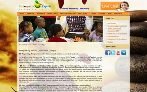 Screenshot of FAQ Page kindergartenexperts-int.com - FAQs - captured Oct. 6, 2014