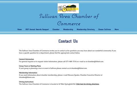 Screenshot of Contact Page Maps & Directions Page sullivanmochamber.com - sullivanchamber | Contact Us - captured Oct. 22, 2018