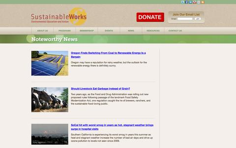 Screenshot of Press Page sustainableworks.org - Noteworthy News   Sustainable Works - captured Aug. 16, 2016