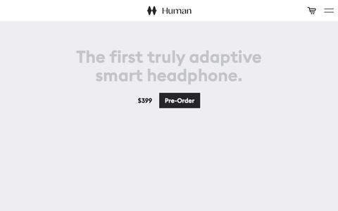 Screenshot of Home Page humanheadphones.com - Home | Human Inc., Making Technology more Human - captured Aug. 6, 2019
