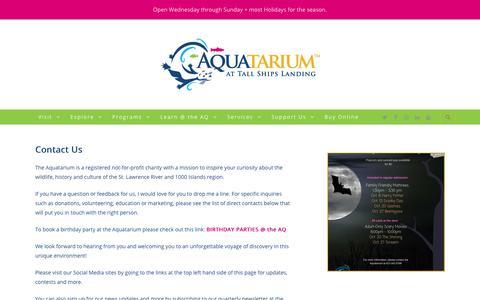 Screenshot of Contact Page aquatarium.ca - Contact Us - Aquatarium - captured Oct. 21, 2018