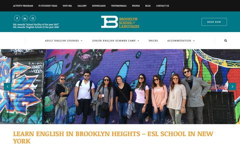 Screenshot of Home Page brooklynschooloflanguages.com - BSL - Home - ESL School in New York City, Brooklyn - captured Aug. 4, 2018
