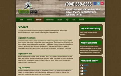Screenshot of Services Page quick-catch.com - Animal Control - Capture and Removal Services - Jacksonville - captured Sept. 30, 2014