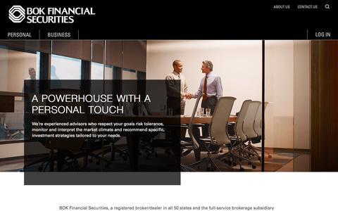 Screenshot of About Page bokfinancial.com - About Us | BOK Financial Securities - captured Feb. 15, 2018