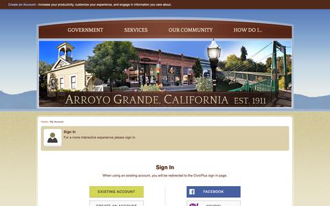 Screenshot of Login Page arroyogrande.org - Arroyo Grande, CA - Official Website - captured Sept. 28, 2018