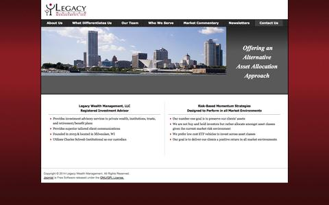 Screenshot of Home Page About Page legacywlth.com - Legacy Wealth Management - captured Oct. 2, 2014