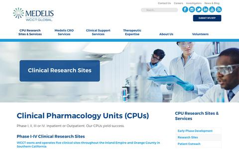 Screenshot of Locations Page wcct.com - Phase I-IV Clinical Pharmacology Units | WCCT - captured March 22, 2017