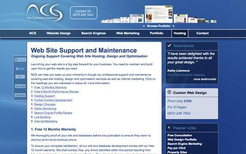 Screenshot of Support Page net-commerce-solutions.co.uk - Web Site Hosting, Design, Optimisation and Support Services - captured Oct. 7, 2014