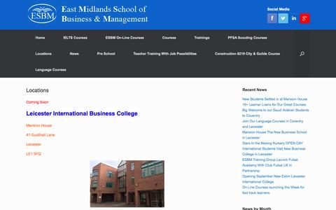 Screenshot of Locations Page esbm.org.uk - Locations | East Midlands School of Business & Management - captured Oct. 19, 2016