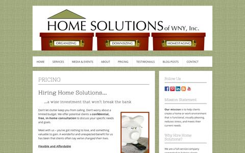Screenshot of Pricing Page homesolutionswny.com - Pricing | Home Solutions of WNY, Inc. - captured Oct. 3, 2014