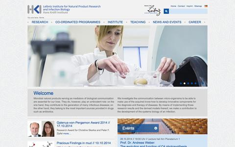 Screenshot of Contact Page Site Map Page Team Page Maps & Directions Page leibniz-hki.de - Leibniz Institute for Natural Product Research and Infection Biology - Hans Knöll Institute (HKI) - captured Oct. 27, 2014