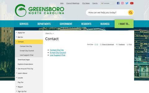 Screenshot of Contact Page greensboro-nc.gov - Contact | Greensboro, NC - captured Sept. 28, 2018