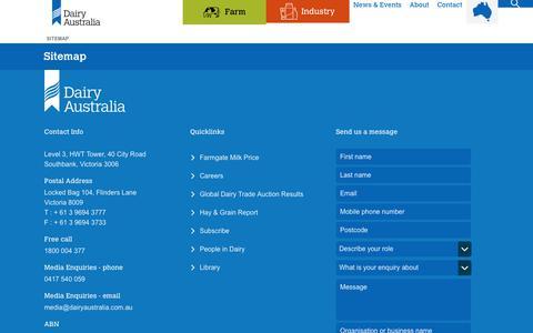 Screenshot of Site Map Page dairyaustralia.com.au - Sitemap - captured Aug. 5, 2018