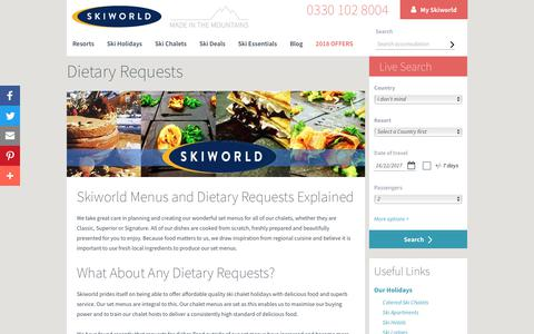 Dietary Requests | Chalet Menus | Skiworld