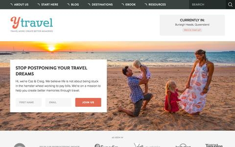 Screenshot of Home Page ytravelblog.com - y Travel Blog - Travel more. Create better memories - captured Oct. 1, 2015