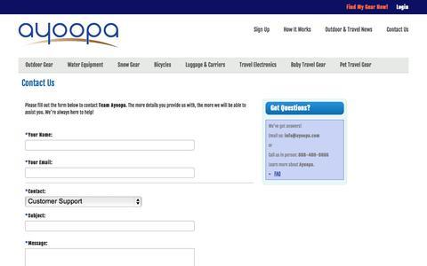 Screenshot of Contact Page ayoopa.com - Contact Us | Ayoopa - captured Sept. 30, 2014
