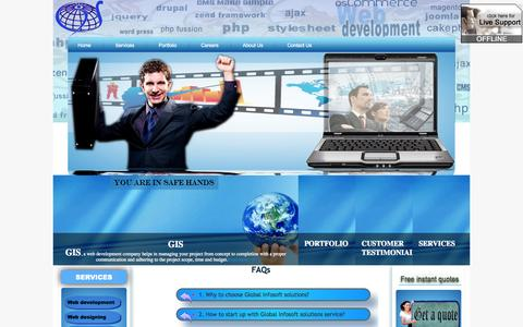 Screenshot of FAQ Page globalinfosoftsolutions.com - GIS faq web development web design ecommerce solutions analysts PHP - captured Sept. 30, 2014