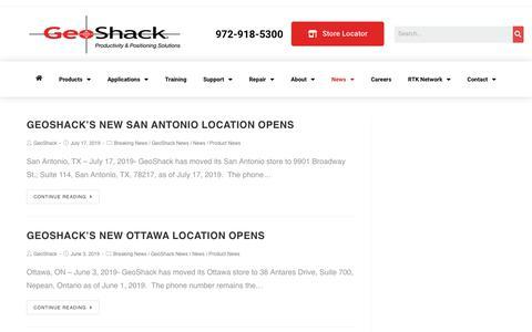 Screenshot of Press Page geoshack.com - News - GeoShack - North America's Largest Topcon Dealer - captured Aug. 21, 2019