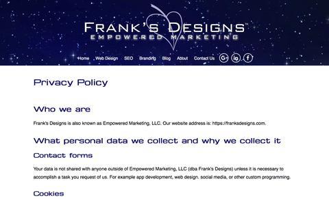 Screenshot of Privacy Page franksdesigns.com - Privacy Policy | Frank's Designs | Sarasota FL - captured Aug. 22, 2018