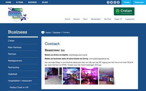 Screenshot of Contact Page okapiaalstar.be - Contact - Crelan Okapi Aalstar - captured Nov. 17, 2016