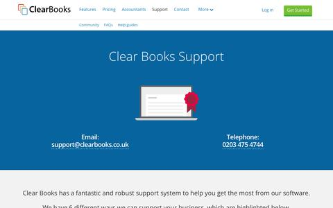 Screenshot of Support Page clearbooks.co.uk - Online, Phone and Email Support | Clear Books™ - captured Aug. 5, 2017