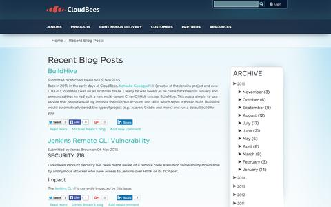 Screenshot of Blog cloudbees.com - Recent Blog Posts | CloudBees - captured Nov. 10, 2015