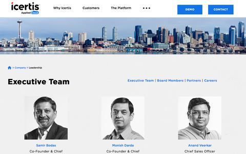 Screenshot of Team Page icertis.com - Leadership Team, Board of Directors, Advisors | Icertis - captured May 17, 2018