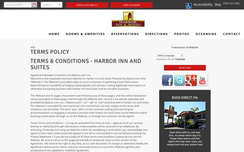Screenshot of Terms Page harborinnoceanside.com - Terms Policy Harbor Inn and Suites Oceanside California CA Hotels Motels Accommodations - captured Dec. 14, 2018