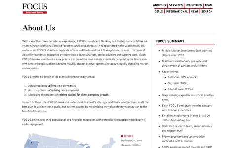 Screenshot of About Page focusbankers.com - About Us - FOCUS Investment Banking LLC - captured Nov. 8, 2019