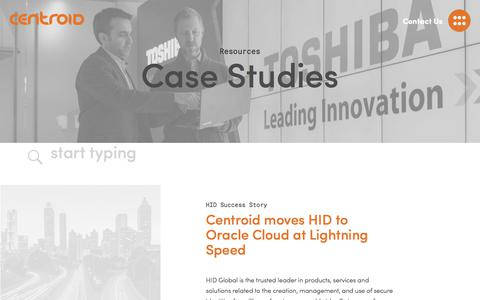 Screenshot of Case Studies Page centroid.com - Sucessful Oracle Cloud Consulting Case Studies | Centroid - captured July 20, 2019
