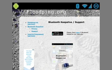 Screenshot of Support Page bluetooth-keepalive.com - Bluetooth Keepalive - Support Seite - captured Oct. 9, 2014