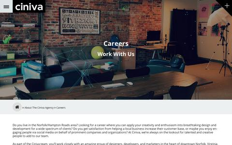 Screenshot of Jobs Page cinivawebagency.com - Careers | Virginia Beach Website Design and Search Marketing - captured July 18, 2018