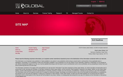 Screenshot of Site Map Page gltdirect.com - Site Map - GLT - captured Oct. 3, 2014