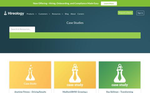 Screenshot of Case Studies Page hireology.com - Case Study | Hireology - captured May 5, 2018