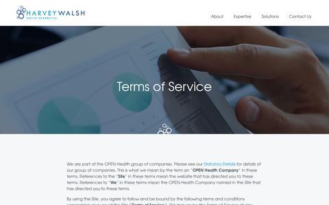Screenshot of Terms Page harveywalsh.co.uk - Terms | Harvey Walsh | Health informatics - captured Sept. 27, 2018
