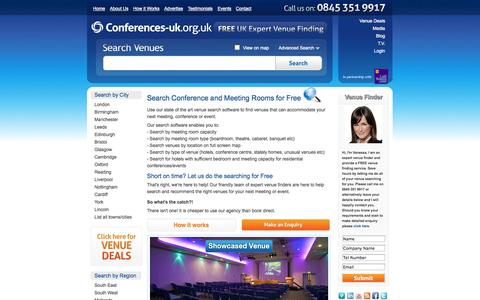 Screenshot of Home Page conferences-uk.org.uk - Conference Venues and Meeting Rooms | Venue Finding UK - captured Sept. 22, 2014