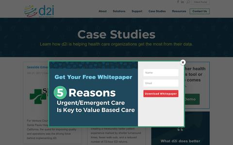 Screenshot of Case Studies Page d2ihc.com - Health Care Data Analytics Case Studies | d2i - captured July 5, 2018