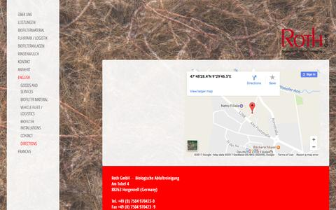 Screenshot of Maps & Directions Page roth-gmbh.de - Directions - Roth GmbH - Biologische Abluftreinigung - captured March 28, 2017
