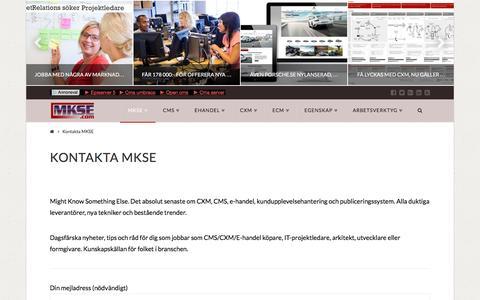 Screenshot of About Page mkse.com - Kontakta MKSE | MKSE.com - captured Feb. 12, 2016