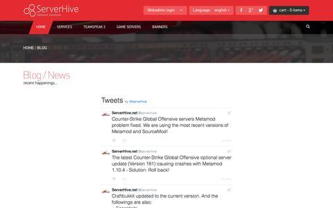 Screenshot of Blog serverhive.net - HIGH QUALITY SERVER HOSTING! - ServerHive.net / COD server, COD2 server, COD4 server, CODUO server, CS1.6 server, CSS server, Source server, TeamFortress server, TF2 server. - captured Nov. 29, 2016