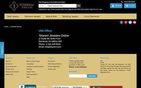 Screenshot of Support Page totaram.com - Customer Service - captured Oct. 10, 2017