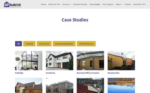 Screenshot of Case Studies Page sipbuilduk.co.uk - SIP Build UK Case Studies of Buildings using Structural Insulated Panels - captured July 26, 2018