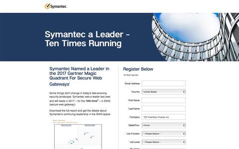 Screenshot of Landing Page symantec.com - 2017 Gartner Magic Quadrant for Secure Web Gateway | Symantec - captured Sept. 21, 2018