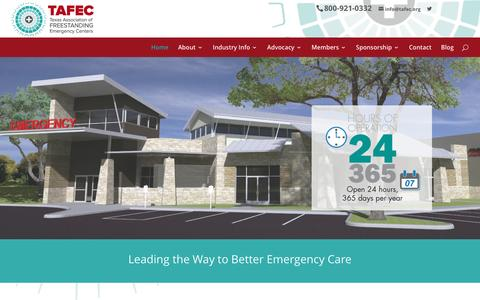 Screenshot of Home Page tafec.org - Texas Association of Freestanding Emergency Centers - captured Feb. 16, 2016