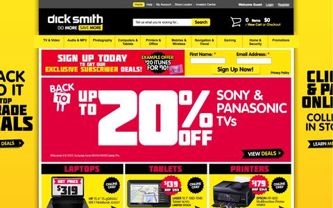 Screenshot of Home Page dicksmith.com.au - Shop Online for Apple iPods, TVs, Cameras, Kindles, Laptops and more from Dick Smith - captured Jan. 28, 2015