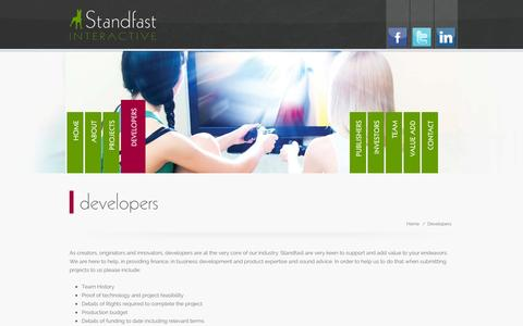 Screenshot of Developers Page standfastinteractive.com - Developers | Standfast Interactive - captured Sept. 30, 2014